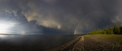Full Rainbow & Mammatus Clouds - Yellowstone Lake, Yellowstone National Park, Wyoming