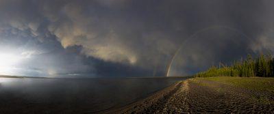 Full Rainbow & Mammatus Clouds - Yellowstone Lake, Yellowstone National Park, Wyoming