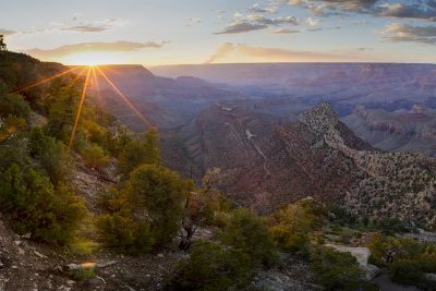 Grand View Sunset, Grand Canyon, Arizona (Sun rays)